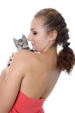 Young woman portrait with kitten Royalty Free Stock Photo
