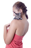 Young woman portrait with kitten Royalty Free Stock Photos