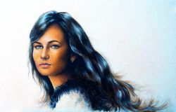 Young woman portrait, with long dark hair and blue eye , color painting. Royalty Free Stock Images