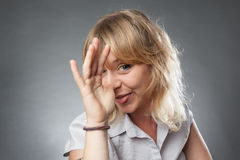 Young woman portrait, making funny faces Royalty Free Stock Image