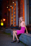 Young woman portrait. Near the Novosibirsk academic opera theatre Royalty Free Stock Images