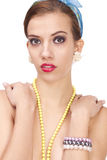 Young woman portrait with necklace Royalty Free Stock Photos