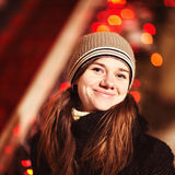 Young woman portrait in the night city Royalty Free Stock Images