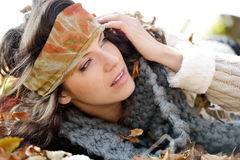 Young woman portrait outdoor in autumn Royalty Free Stock Image