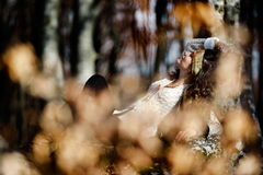 Young woman portrait outdoor in autumn Royalty Free Stock Images