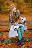 Young woman portrait outdoor in autumn Stock Images