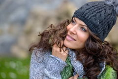 Young woman portrait outdoor in autumn Stock Photos