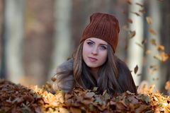 Young woman portrait outdoor in autumn Stock Photo