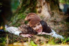 Young woman portrait outdoor in autumn Stock Image