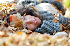 Young woman portrait outdoor in autumn Royalty Free Stock Photos
