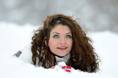 Young woman portrait outdoor in winter Royalty Free Stock Photos