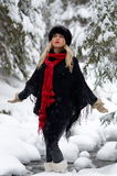 Young woman portrait outdoor in winter Stock Images