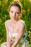 Young Woman portrait poppy field Stock Images