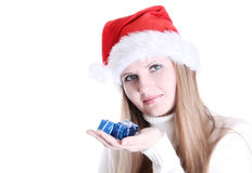 Young woman portrait with presents Royalty Free Stock Image