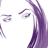 Young woman portrait sketch. Sketch of the young woman Royalty Free Stock Photo