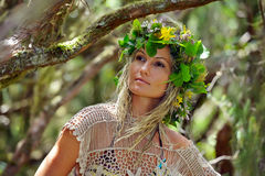 Young woman portrait wearing wreath Royalty Free Stock Images