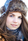 Young woman portrait in winter Stock Photo