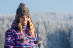 Young woman portrait winter mountains snow Royalty Free Stock Photos