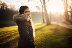 Woman in winter park stock photos