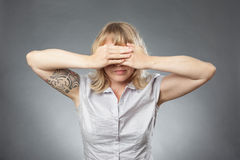 Young woman portraits, covering her eyes Royalty Free Stock Photo