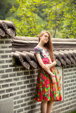 Young woman posing against ancient chinese wall Royalty Free Stock Photography