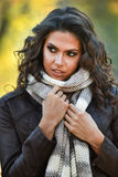 Young woman posing in autumn park. Attractive young woman posing in autumn park stock photography