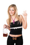 Young woman posing with a bottle Stock Image