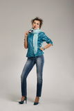 Young woman posing at casual wear Royalty Free Stock Images
