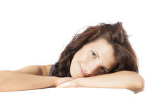 Young woman posing in clear background with copy space Royalty Free Stock Images