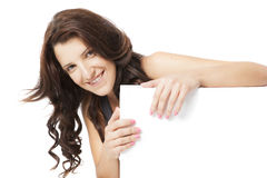 Young woman posing in clear background with copy space Stock Photo