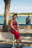 Young woman posing Cojimar Cuba Royalty Free Stock Photo