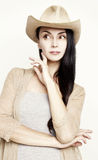 Young woman posing in cowboy hat Royalty Free Stock Photos