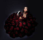 Young woman posing in flamenco costume isolated Royalty Free Stock Photos