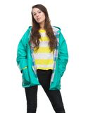 Young woman posing in green raincoat Royalty Free Stock Photo