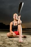 Young woman posing with kayak paddle Royalty Free Stock Image