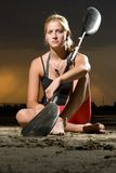 Young woman posing with kayak paddle Stock Photos