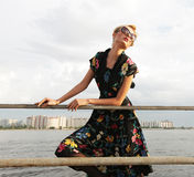 Young woman posing near the sea. Stock Image