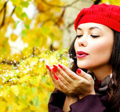 Young woman posing outdoors Royalty Free Stock Photography