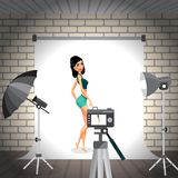Young woman posing in photo studio on white background. Vector f Royalty Free Stock Photos