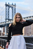 Young woman posing on the pier with Manhattan Bridge on the background. Royalty Free Stock Images