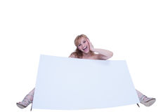 Young woman posing with a placard Stock Photo