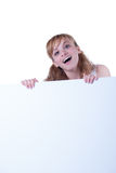 Young woman posing with a placard Royalty Free Stock Photography