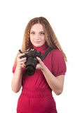 Young woman posing with professional photo camera Stock Photo