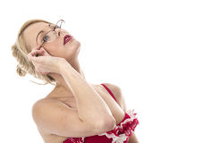 Young Woman Posing in Red Lingerie Wearing Glasses Stock Photo