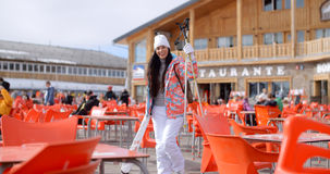 Young woman posing at a ski resort restaurant Stock Image