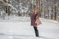 Young woman posing in a snowy park in winter. Stock Image