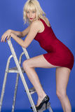 Young Woman Posing Stepping on Ladder Revealing Long Legs and Thighs Royalty Free Stock Photography