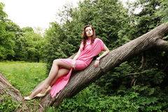 Young woman posing on a tree Royalty Free Stock Photo