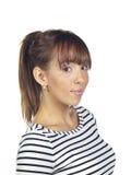 Young woman posing wearing a striped shirt Royalty Free Stock Photo