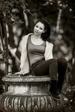 Young Woman with Positive Energy and Beautiful Smile posing in t. He forest... Vintage Style Photograph Stock Photos